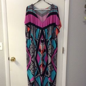 Avenue Plus Size Full Length Geometric Print Dress